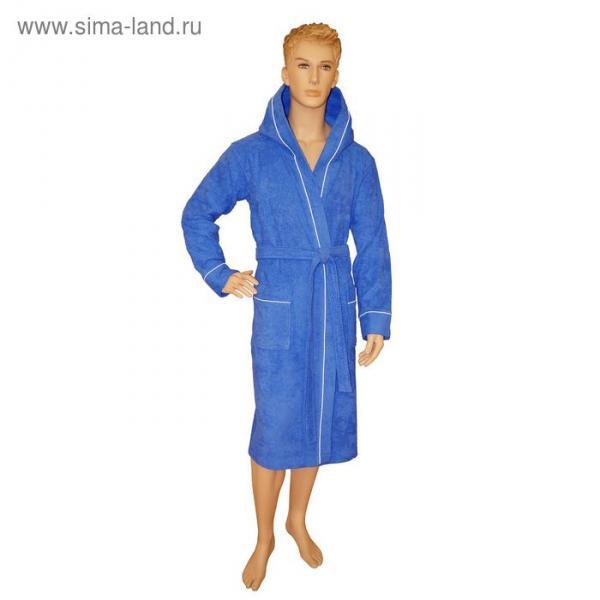Халат мужской, капюшон+кант, размер 48, синий, махра