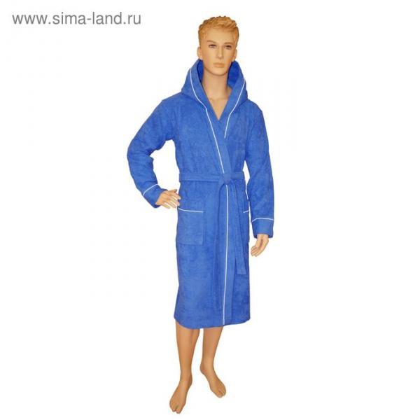 Халат мужской, капюшон+кант, размер 54, синий, махра