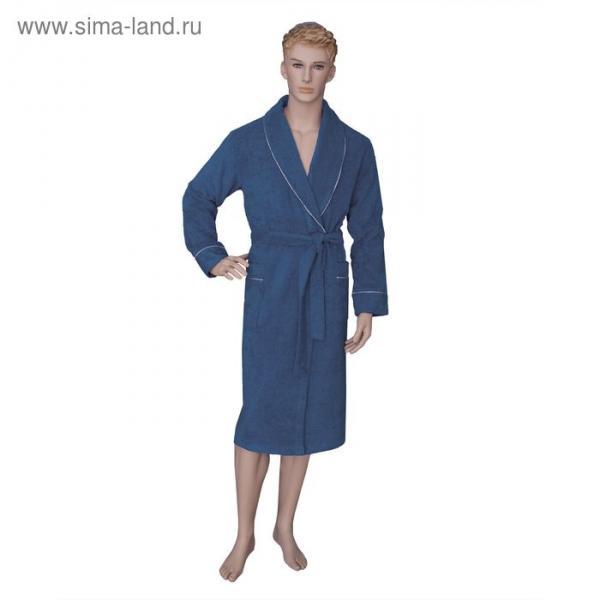 Халат мужской, шалька/кант, размер 60, тёмно-синий, махра