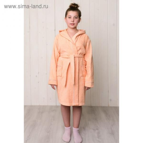 Халат для девочки с капюшоном, рост 110 см, персиковый, махра