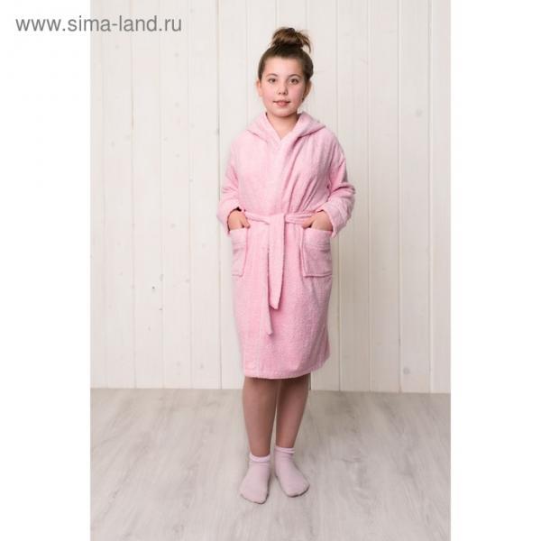 Халат для девочки с капюшоном, рост 128 см, розовый, махра