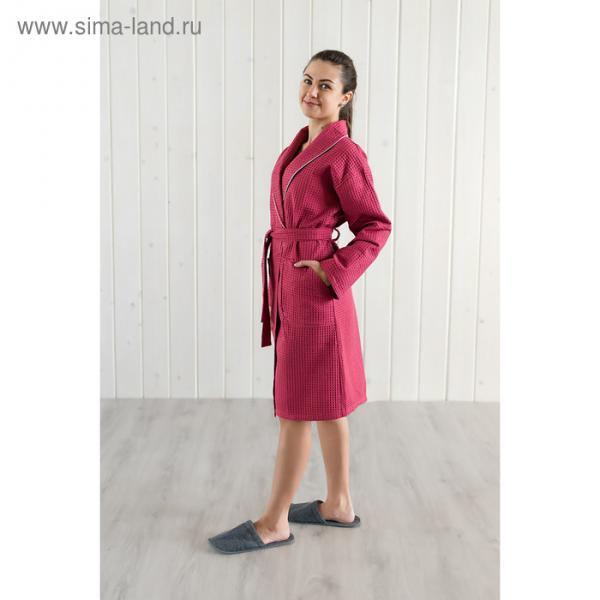 Халат женский, шалька+кант, размер 44, бордовый, вафля