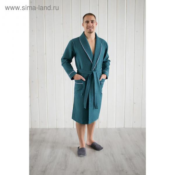 Халат мужской, шалька+кант, размер 52, изумрудный, вафля
