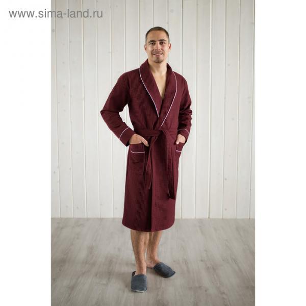 Халат мужской, шалька+кант, размер 52, кирпичный, вафля
