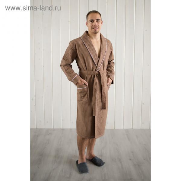 Халат мужской, шалька+кант, размер 48, шоколадный, вафля