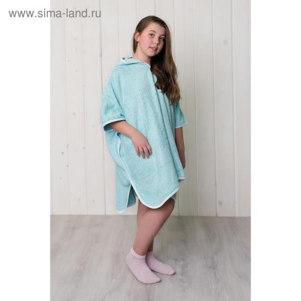 Халат-пончо для девочки, размер 80 × 60 см, бирюзовый, махра 380 г/м