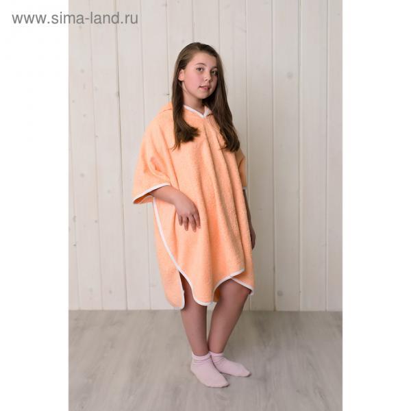 Халат-пончо для девочки, размер 80 × 60 см, персиковый, махра 380 г/м