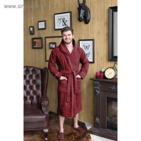 Халат мужской с капюшоном, размер 60, бордовый, махра