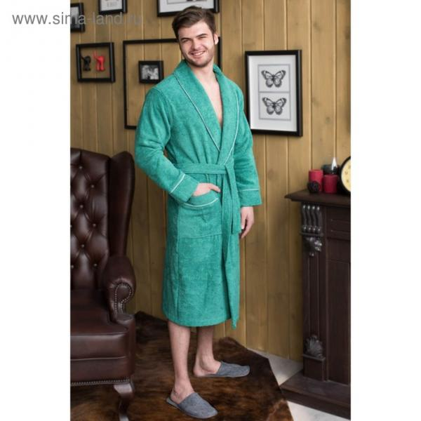Халат мужской, шалька, размер 52, зелёный, махра