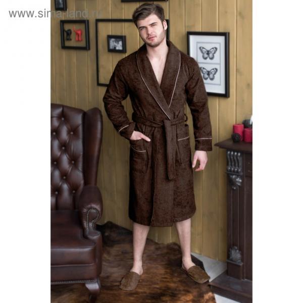 Халат мужской, шалька, размер 50, шоколадный, махра