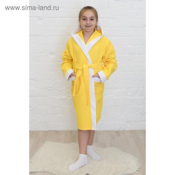 Халат для девочки, рост 152 см, лимонный, вафля, 405-152-Л