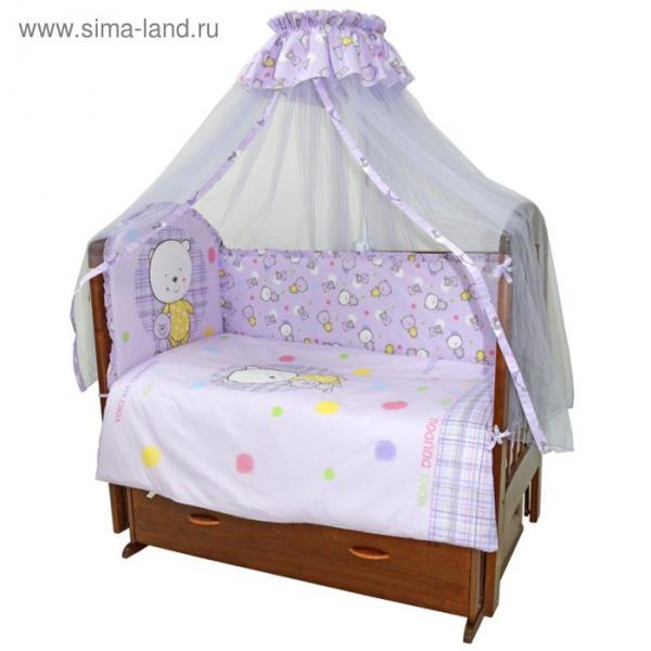 Комплект в кроватку «Мой Медвежонок», 7 предметов, цвет сиреневый 727М/6