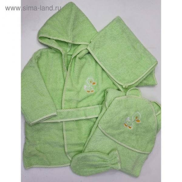 Комплект: халат, уголок. Полотенце, рукавичка, цвет зелёный, махра М-4/4