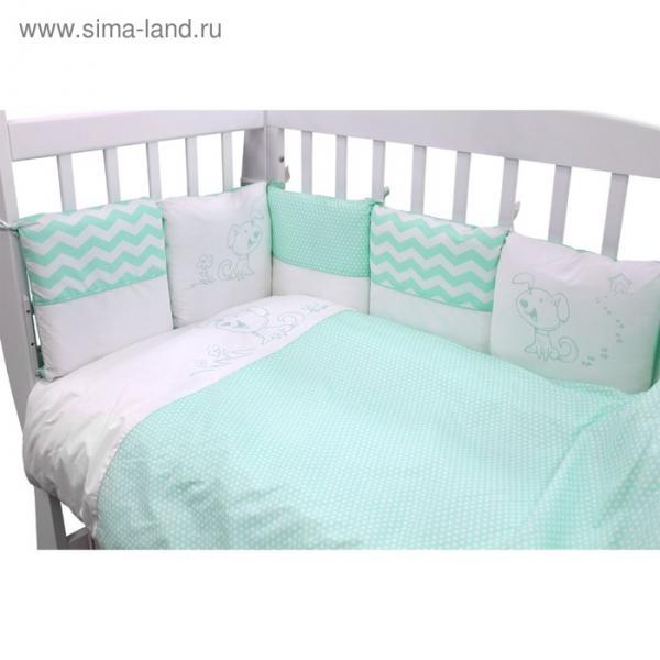 "Борт в кроватку ""Гав-Гав"": подушки 30х30 см-12 шт., цвет бирюзовый 171/7"