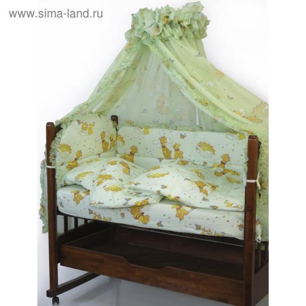 Комплект в кроватку «Жираф Вилли», 6 предметов, цвет зелёный 650М/4