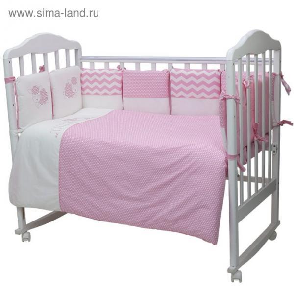 Комплект в кроватку «Долли», 6 предметов, цвет розовый 670/1