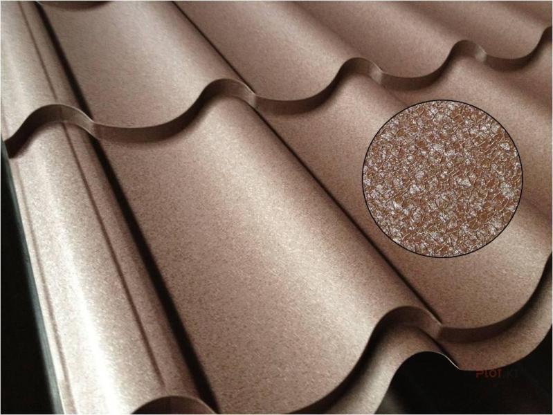Металлочерепица Атланта (Монтеррей 3d-срез) Полиуретан, 0,50 мм, Zn 225 (Гарантия 35 лет от завода маркированный металл)