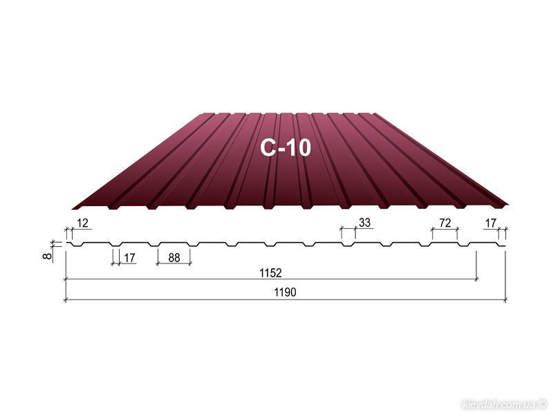 Профнастил С-10 сторона А, Стеновой, Цинк 0,4 мм, Украина