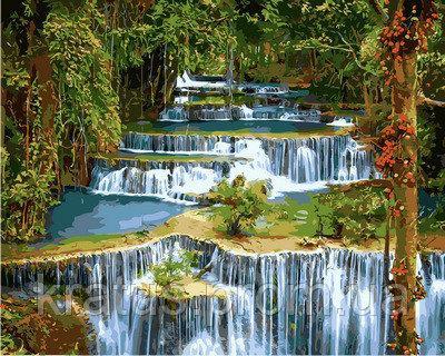 "VP 912 ""Тропический водопад"" Картина по номерам на холсте 40х50см"