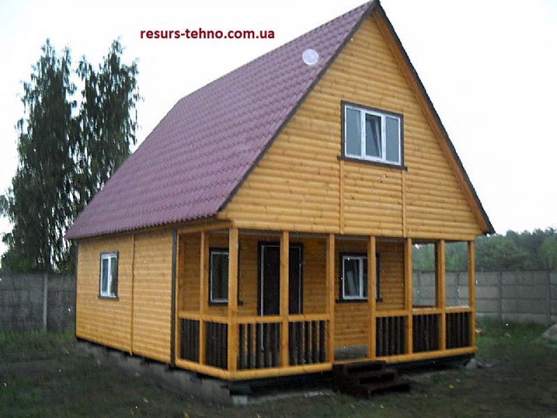 Дачный домик 6м х 6м  с мансардой и террассой