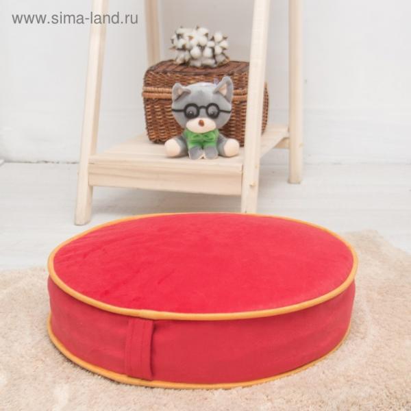Подушка на стул круглая 43х43 см, высота 10см, красный/желтый, велюр, поролон