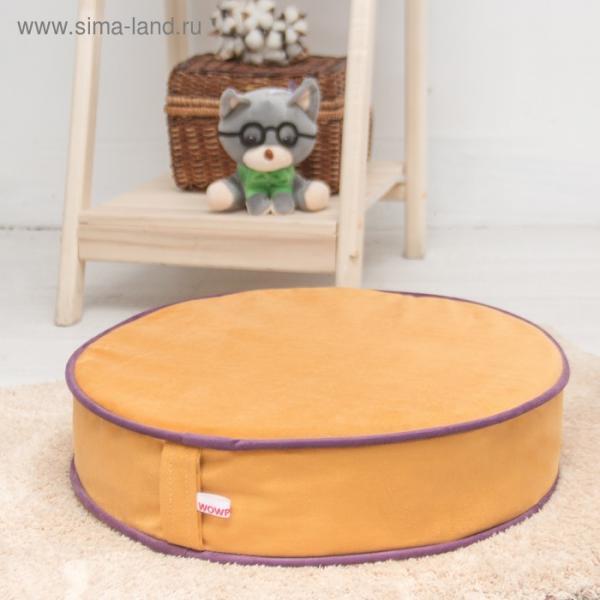 Подушка на стул круглая 43х43 см, высота 10см, желтый/сиреневый, велюр, поролон