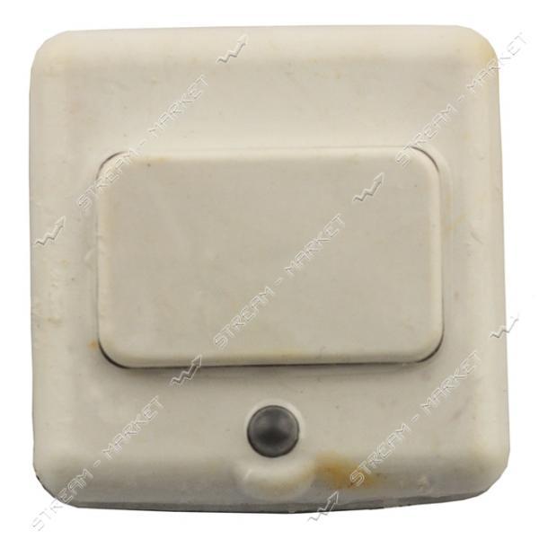 Кнопка для звонка белая с подсветкой (диод) на блистере Харьков