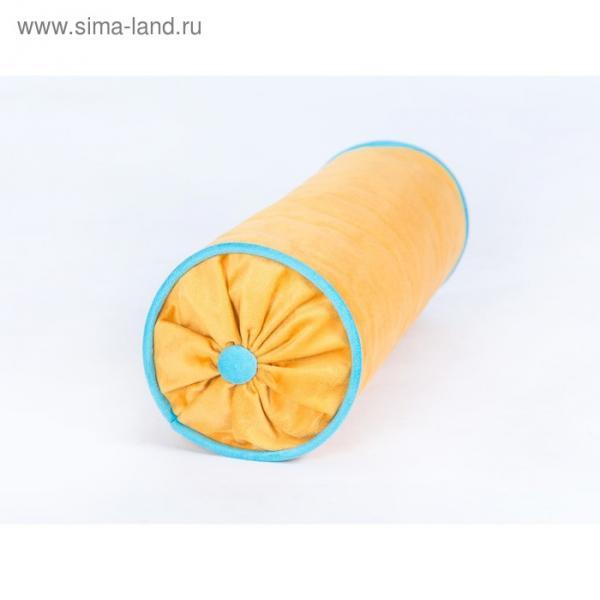 Подушка декоративная «Валик», размер 44 × 15 × 15 см, жёлтый/голубой, велюр