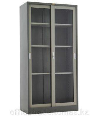 Шкаф купе для документов с раздвижными дверьми из стекла