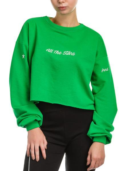 Спортивный женский хлопковый кроп-топ Stars sweatshirt