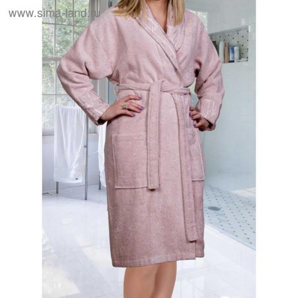 "Махровый халат ""ELIZA"", размер L, цвет пудра"