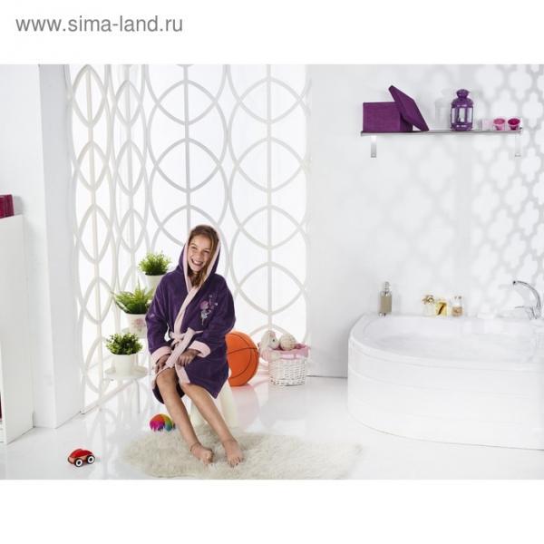 Халат для девочки Snop, 12-13 лет, фиолетовый, махра/велюр