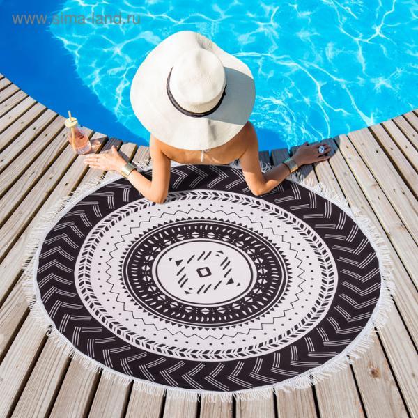 """Полотенце пляжное круглое Этель """"Black"""", d150 см, 100 %  п/э"""