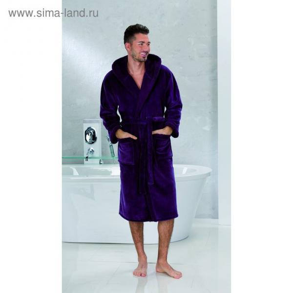 """Халат мужской """"SAMT VELOURS"""", размер 48, цвет фиолетовый ПГ-08979"""