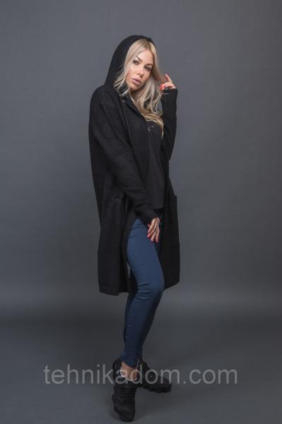 ANNY Стильный кардиган с капюшоном - черный цвет, S/M
