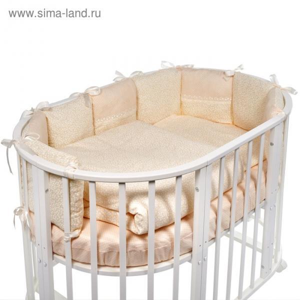 Комплект в овальную кроватку Aria, 5 предметов, бежевый, бязь