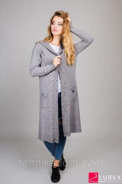 ANNY Кардиган с бусинами и капюшоном - серый цвет, L/XL