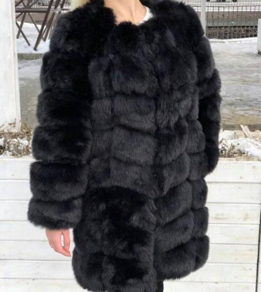 Шуба длинная 90 см черная