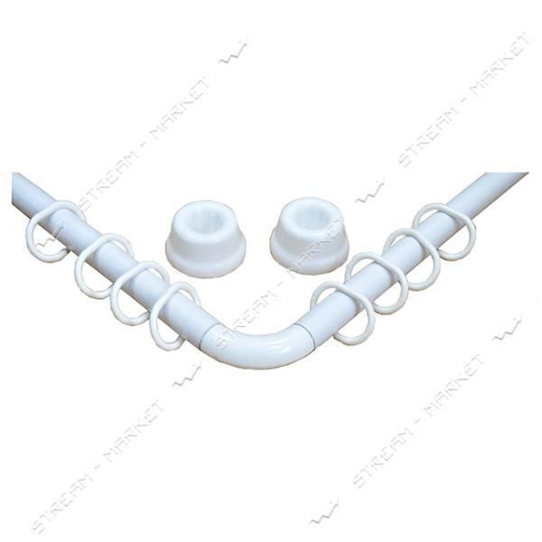 Карниз для ванной металлический угловой 0.9х1.8м белый Турция