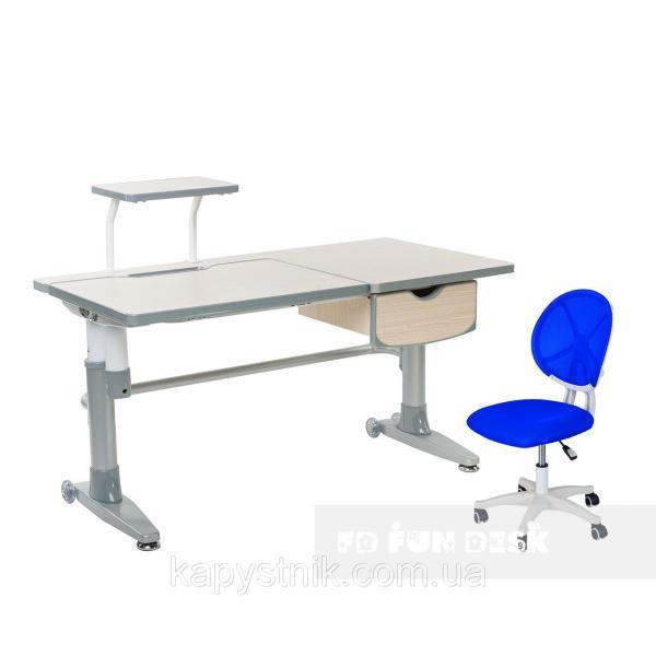 Комплект подростковая парта для школы Ballare Grey + детское кресло для школьника LST1 Blue FunDesk
