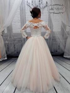 Фото Свадебные платья Пышное свадебное платье пудра с кружевными рукавами Алина
