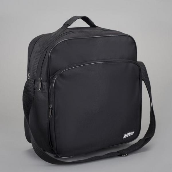 Сумка деловая на молнии, 1 отдел, наружный карман, длинный ремень, цвет чёрный
