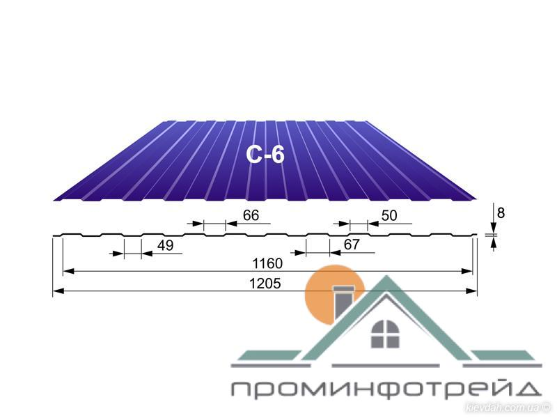 Фото Профнастил, Профнастил С-6, Стеновой Профнастил С-6, Стеновой, 0,45 мм, Полиэстер, Printech Корея