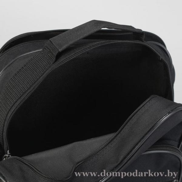 Фото ПОСМОТРЕТЬ ВЕСЬ КАТАЛОГ, Галантерея, Сумки мужские  Сумка мужская, 2 отдела на молнии, 2 наружных кармана, регулируемый ремень, цвет чёрный