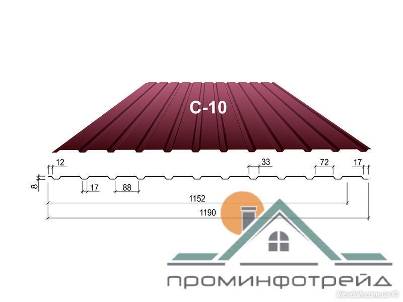 Фото Профнастил, Профнастил С-10 сторона А, Стеновой Профнастил С-10 сторона А, Стеновой, Цинк 0,5 мм, Украин