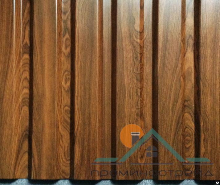 Фото Профнастил, Профнастил С-10 сторона А, Стеновой Профнастил С-10 сторона А, Стеновой, Полиэстер,  0,45 мм, Printech Корея (под дерево)