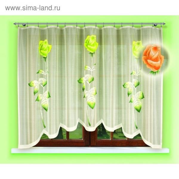 Гардина, размер 160х300 см, цвет зелёный