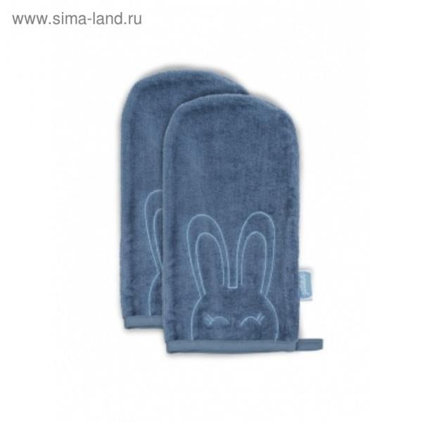Салфетки для купания, размер 12х24 см-2 шт., цвет голубой