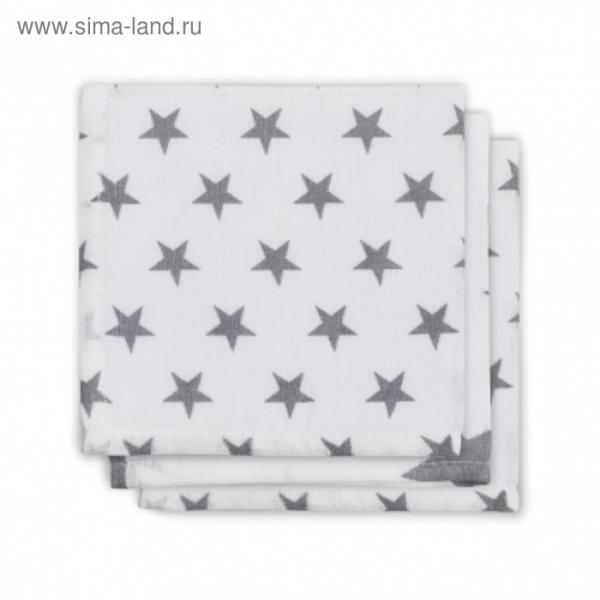 Набор салфеток для лица, размер 30х30 см-3 шт., серые звёзды