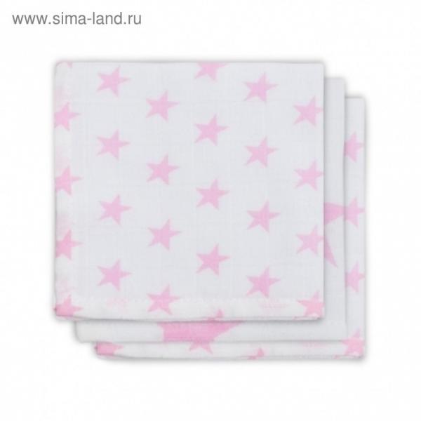 Набор салфеток для лица, размер 30х30 см-3 шт., розовые звёзды